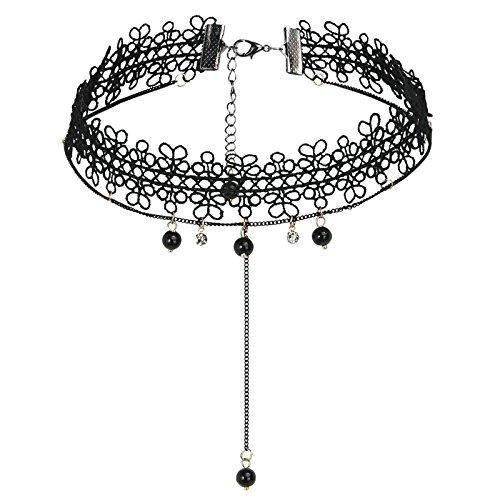 SonMo Choker Halsband Spitze Tattoo Edelstahl Enge Halskette Damen Perlenkette Quaste Halsband Damen Kropfband Damen Schwarz Trachtenkette Collier Einstellbare länge 35.5CM