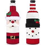 2 Piezas Bolsas de Tela Botellas, Decoraciones de Mesa Navideñas Soporte de Cubiertos Bolsa de Cubiertos de Santa Claus para la Cena y Bolsas para Botellas de Vino de Santa Claus (2 Bolsas de Vino)