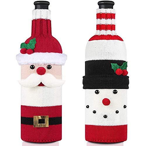 JPYH Coperchio della bottiglia di vino di Natale, Natalizio Sacchetti Copribottiglia Maglione Borse per Bottiglia Vino Champagne per Decorazione Festa Natale (2pcs)