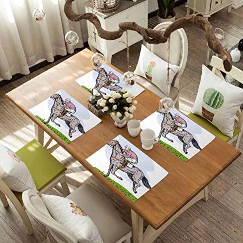 FloraGrantnan Decor Heat-Resistant Table Mat Placemats, Animal Sketchy Horse Racing Theme Pony Stallion Riding on Field Retro Illu, Non-Slip Absorbent Table Mats Placemats, Set of 6