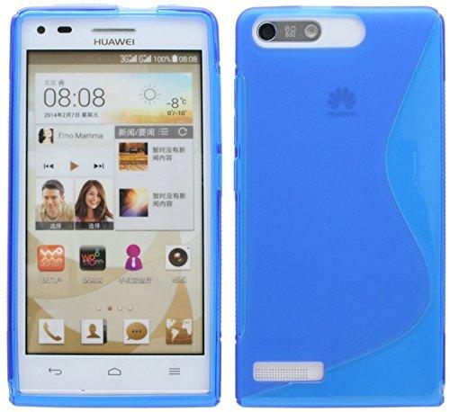 ENERGMiX Silikon Hülle kompatibel mit Huawei Ascend G6 S-Line Tasche Hülle Zubehör Schale in Blau