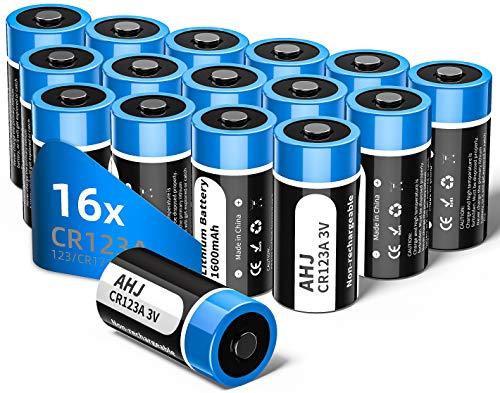 AHJ Pilas CR123a 3V de Litio no Recargables CR123 - Paquete de 16 Pilas (CR 123 / CR17345) - Capacidad 1600 mAh - Ideal para la Linterna Cámara Digital Videocámara Juguetes Antorcha-NO PARA ARLO