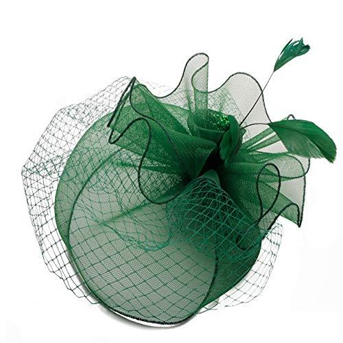 Y-WEIFENG New Cappello da Federa da Donna Cappello da Federa da Cocktail da 20s 50s Cappello da Cerimonia da tè con Copricapo per Ragazze e Donne. (Colore : Verde)