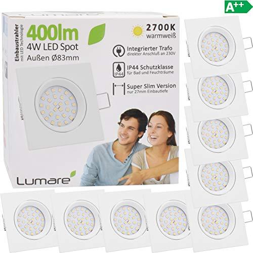 9x Lumare LED Einbaustrahler 4W 400 Lumen IP44 nur 27mm extra flach Einbautiefe LED Leuchtmodul austauschbar Deckenspot AC 230V 120° Deckenlampe Einbauspot warmweiß weiß eckig Badezimmer