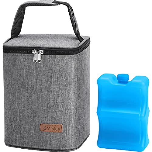Baby Bottle Bag Insulated Breastmilk Cooler Bag with Ice Pack, Reusable Baby Bottle Tote Bag for up to 6 Bottles 4 Large 9Oz Bottles, Freezer Lunch Bag, Perfect for Daycare or Back to Work Nursing Mom