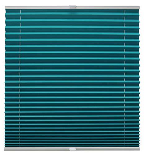 Plissee auf Maß verschiedene Farben alle Fenster Montage Glasleiste Blickdicht mit Spannschuh Sonnenschutzrollo Fensterrollo Plissee Petrol Breite: 91-100 cm, Höhe: 40-100 cm