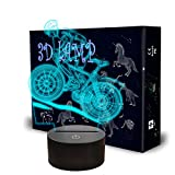 Mountain Bike 3D Night Lights, Llamaababie Bicycle 3D Illusion Lamp, 7 Colors Changing with Smart Control, Acrylic Led Table Light for Boys Girls Kids Athlete Sports Lover Birthday Xmas