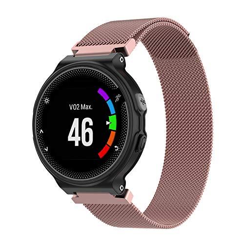 Preisvergleich Produktbild Uatone Armband für Garmin Forerunner,  Ersatz-Metall-Armband für Garmin Forerunner 235 / 230 / 630 / 220 / 620 / 735XT,  Pink01,  Small (5.5-7.1 inch)