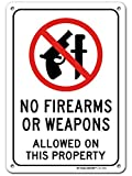 """No Weapons or No Firearms Sign, 7"""" x 10"""" Industrial Grade Aluminum, Easy Mounting, Rust-Free/Fade Resistance, Indoor/Outdoor, USA Made by MY SIGN CENTER"""