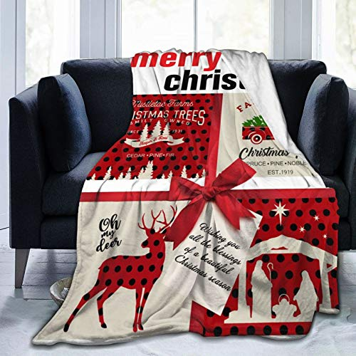 Jist Zovi Bed Blanket Merry Christmas Throw Blankets for Couch,Sofa,Bed Comfort Warm Flannel Fleece Blanket for Women,Adults and Kids 50
