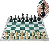 LQW HOME Ajedrez 64/77 / 97mm Medieval Juego de ajedrez Torneo de Ajedrez con el Vinilo del Tablero de ajedrez Juegos de Mesa de ajedrez de Viaje Junta Las Piezas del Juego Puzzle niños de Juguete