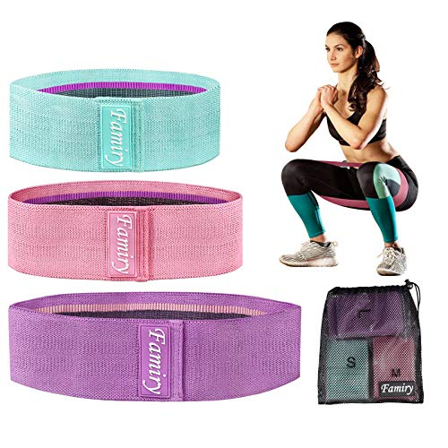 Famiry Resistance Bands for Legs and Butt, Booty Bands, Exercise Bands Set Workout Bands Hip Bands Wide Glute Bands Anti Slip Circle Fitness Band, Pack of 3