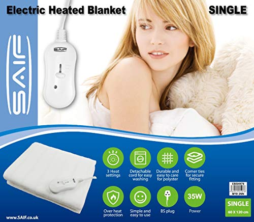 AIMS Heated Electric Blanket Heated Under Bed Comfort Detachable Controller...