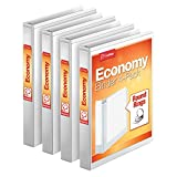 Cardinal Economy 3 Ring Binder, 1 Inch, Presentation View, White, Holds 225 Sheets, Nonstick, PVC Free, 4 Pack of Binders (79510)