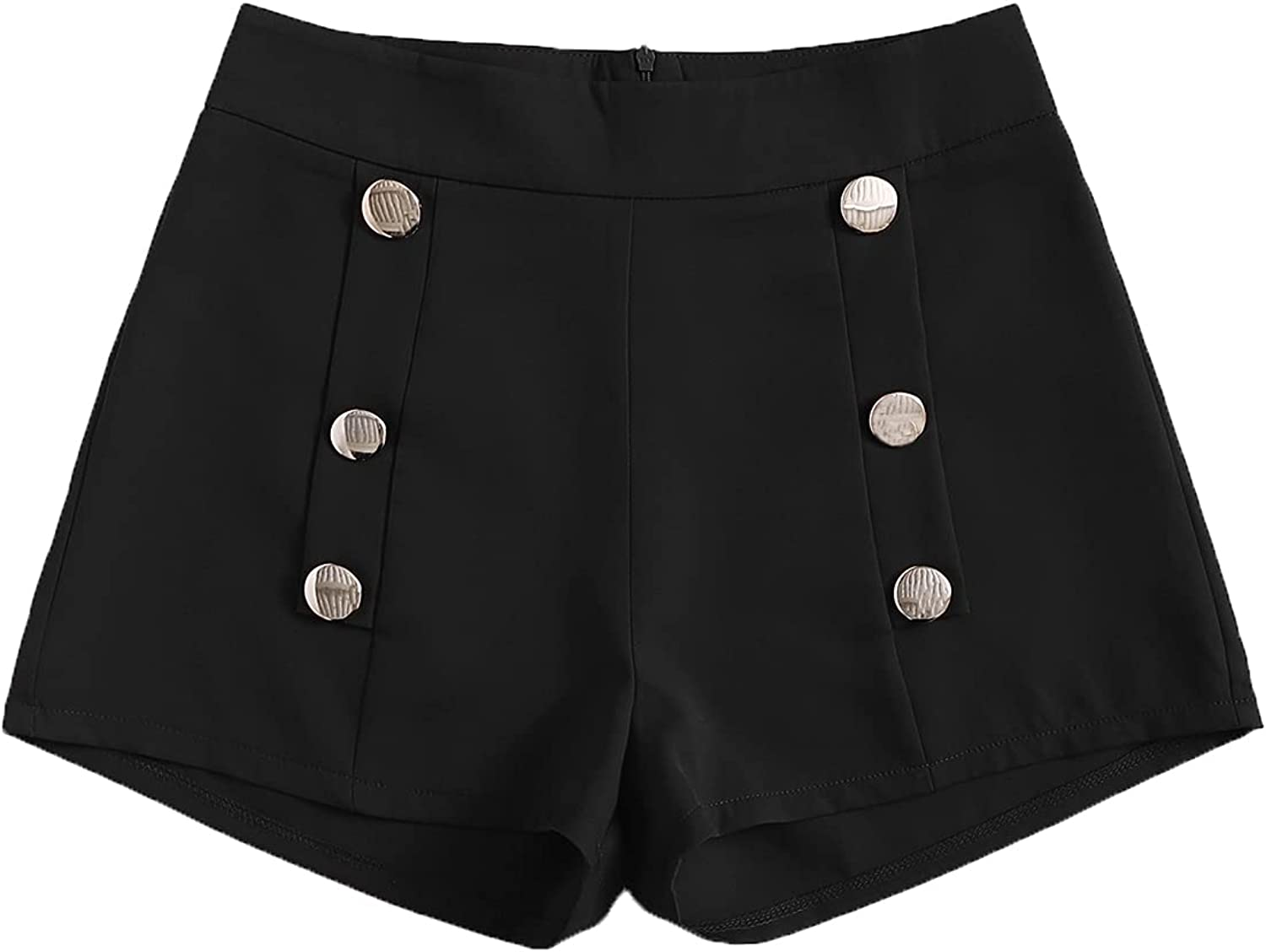 SweatyRocks Women's Casual Double Breasted Button Front Zipper Back Shorts