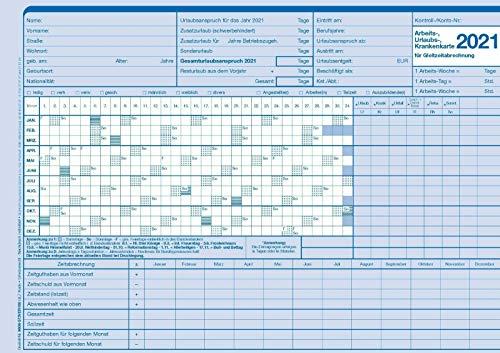 20 Personalkarten für Arbeits-, Urlaubs- und Krankenzeiten 2021