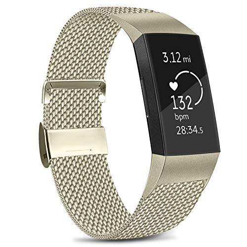Amzpas Cinturino Compatibile con Fitbit Charge 3/Fitbit Charge 4, Cinturino Regolabile in Acciaio Inox con Chiusura Magnetica Unica per Fitbit Charge 3/Charge 4