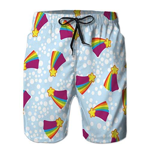 Xunulyn Shorts de Playa de baño de Secado rápido para Hombre, Estrellas Amarillas con Rastro de arcoíris de Color en Azul