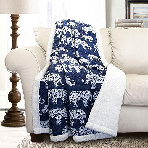 """Lush Decor Navy Elephant Parade Throw Fuzzy Reversible Sherpa Blanket 60"""" x 50 White, 60 x 50"""