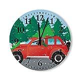 Plott Hound Dog Driving Christmas Car Redondo Reloj de Pared, Rústico Relojes silenciosos Casa de Campo Cabaña Country Home Decor