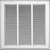 18' X 18' Steel Return Air Filter Grille for 1' Filter - Fixed Hinged - Ceiling Recommended - HVAC Duct Cover - Flat' Stamped Face - White [Outer Dimensions: 20.5 X 19.75]