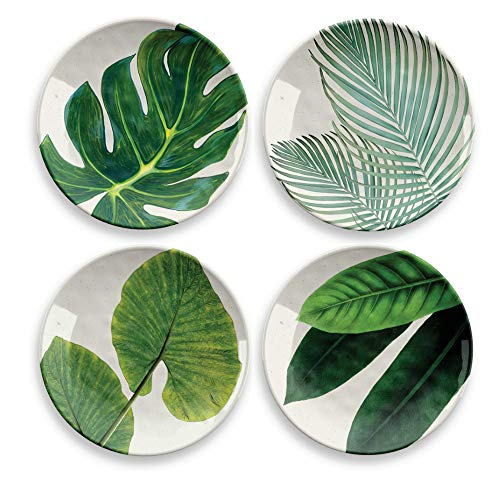 Amazon Salad Plates Assorted Patterns, 8.5',Bamboo & Plant
