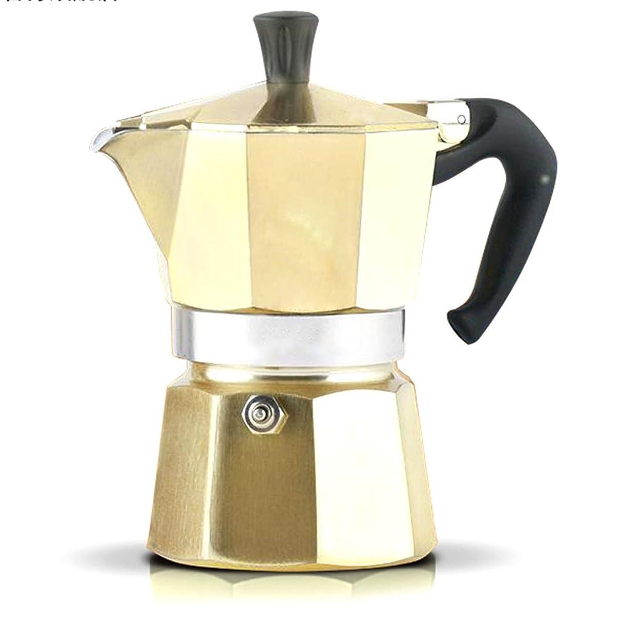 遺伝的多様な差し控えるモカコーヒーメーカー シンプルなホーム醸造コーヒーエスプレッソメーカーモカポットポットコーヒー器具エスプレッソコーヒーポット手作りのコーヒー おいしいコーヒーを楽しむ (Color : Gold, Size : 3 cup)