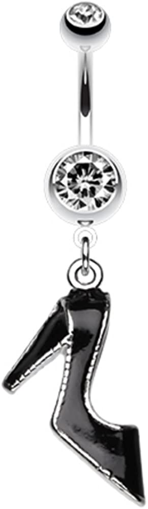 Covet Jewelry Black Stiletto High Heel Belly Button Ring