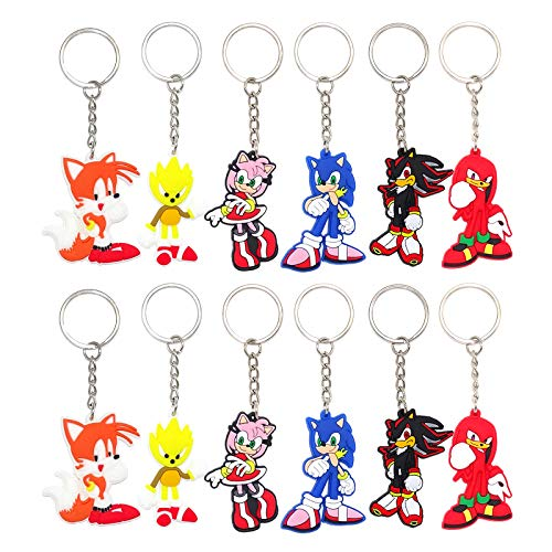 24 PACK Sonic The Hedgehog Keychains for Birthday Party Favors, Sonic birthday Party Supplies, Sonic Keychain for Birthday Party Treat Bag Fillers, School Carnival Reward, Sonic keychain for Backpack