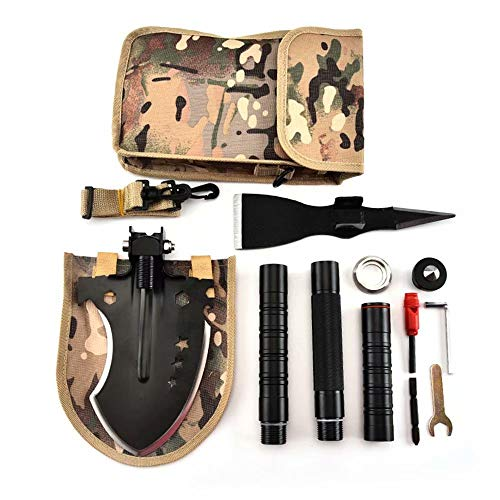 LP-LLL Pala Militar para Acampar - Edealing Multitool Pala táctica compacta portátil con Estuche de Cintura para Acampar al Aire Libre Senderismo Mochilero Coche Emergencia