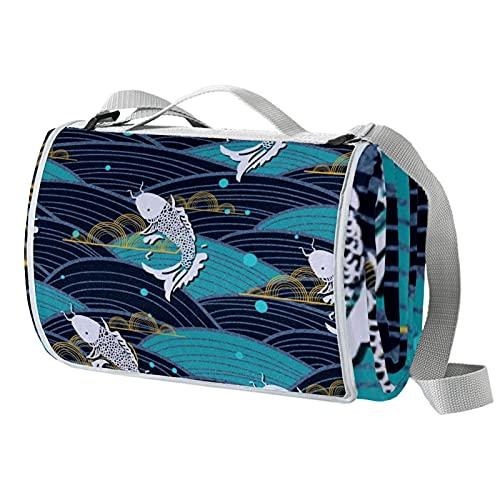 Manta de picnic portátil de 57 x 59 pulgadas, impermeable, para playa, viajes, camping, césped, música, festival, estilo japonés, pescado