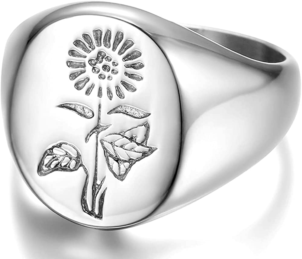 Stainless Steel Sun Flower Pattern Signet Style Wedding Engagement Promise Anniversary Statement Ring