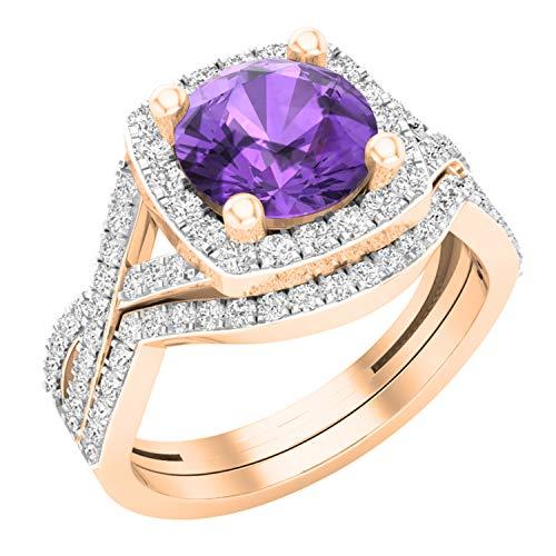 Dazzlingrock Collection - Juego de anillos de boda de 8 mm con piedras redondas y circonitas cúbicas blancas, diseño de halo de vástago dividido, oro rosa de 14 quilates