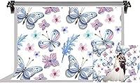 HDプリント漫画の背景ポートレート写真の背景のための蝶の花の背景綿の写真ビデオスタジオの小道具7X5ftFSLX211