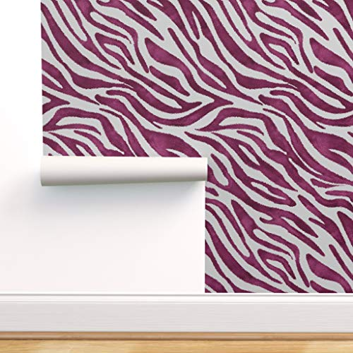 Spoonflower Peel and Stick Removable Wallpaper, Zebra Print Purple Large Scale African Inspired Print, Self-Adhesive Wallpaper 24in x 108in Roll