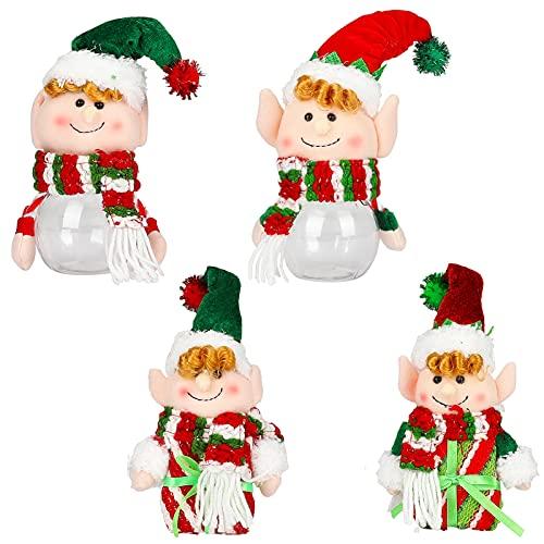 Tarro de dulces de Navidad, 4 tarros de regalo de Navidad de plástico transparente con tapa latas alimentos de dibujos animados para niños dulces azúcar contenedor para decoración del árbol de Navidad