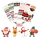 ZERHOK 16 Hojas DIY Pegatinas Infantiles Navidad de Papá Noel/Muñeco de Nieve/Duende/Reno Christmas Children Stickers para Fiesta Familiar Regalo Niños Navideño Recompensas de Clase