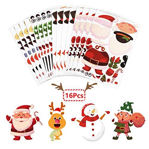 LANMOK 16 sheet Make-A-Snowman/Santa Claus/Reindeer/Elf Stickers Make Your Own Christmas Sticker for Kids Children Xmas Game Christmas Advent Calendar Decorations