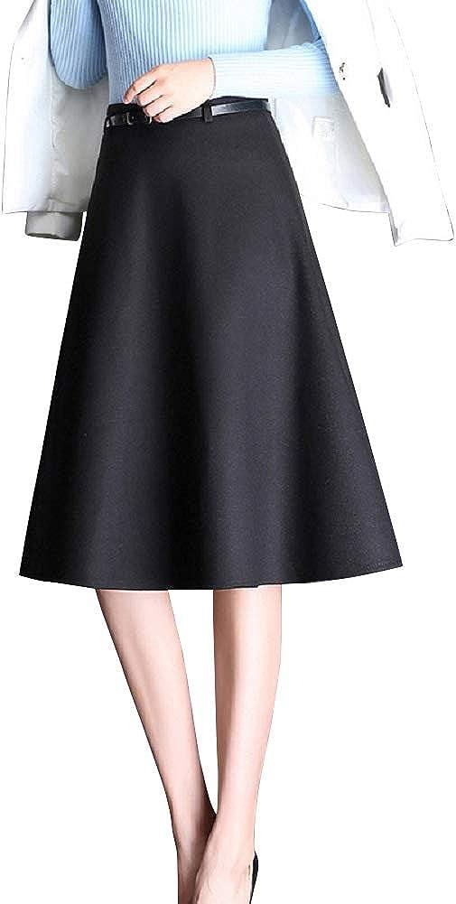 CHARTOU Women's Warm Wool Blend High Waist Solid A Line Flared Midi Short Skirt
