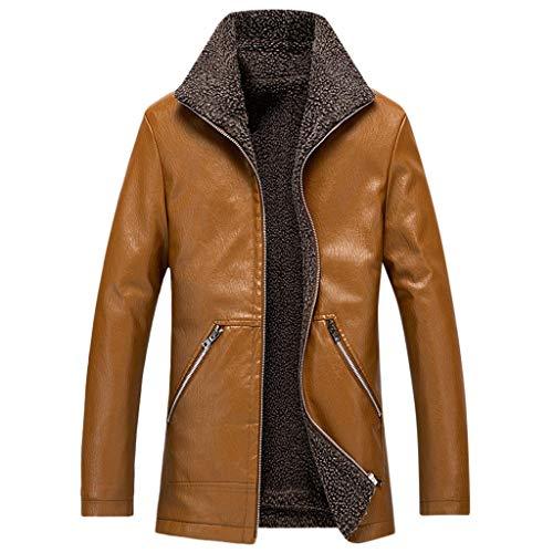 MAYOGO Herren Jacke Warmer Fleece Innen Plus Samt Kunst- Lederjacke Full-Zip Winterjacke Biker Motorradjacke Lederimitat Jacke Bomba Jacke Bomber Jacke (Gelb, XXL)