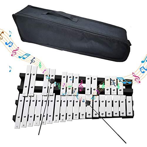 EiDevo Faltbares Glockenspiel-Xylophon, Tragbares PädagogischesVibraphon-Schlaginstrument-Xylophon Geeignet für Kinder und AnfängerGlockenspiel (30 Töne)