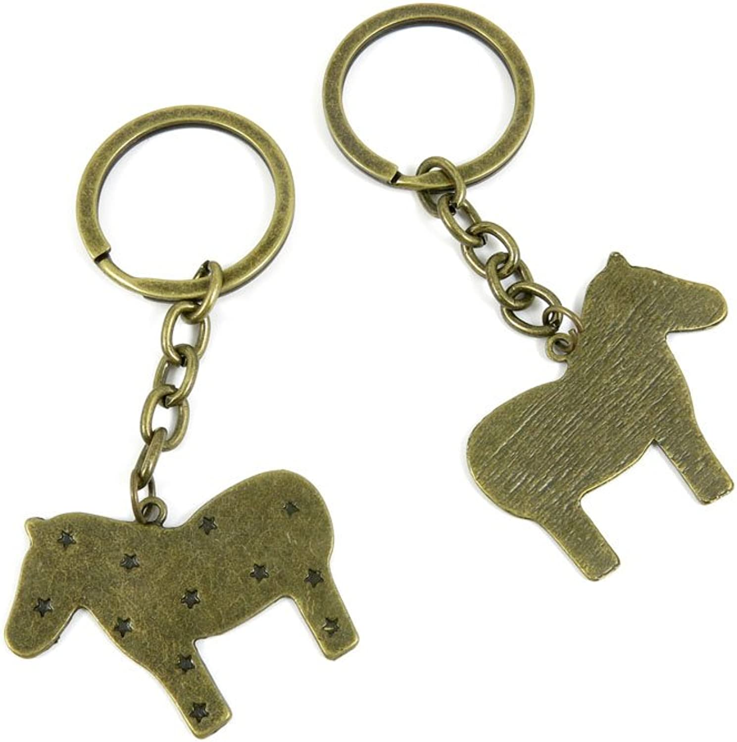 100 PCS Keyrings Keychains Key Ring Chains Tags Jewelry Findings Clasps Buckles Supplies K7YI3 Star Pony Horse
