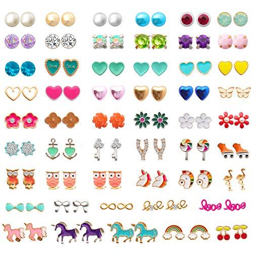 NEWITIN 52 Pairs Colorful Cute Stud Earrings Hypoallergenic Earrings Stainless Steel Earrings for Girls and Women