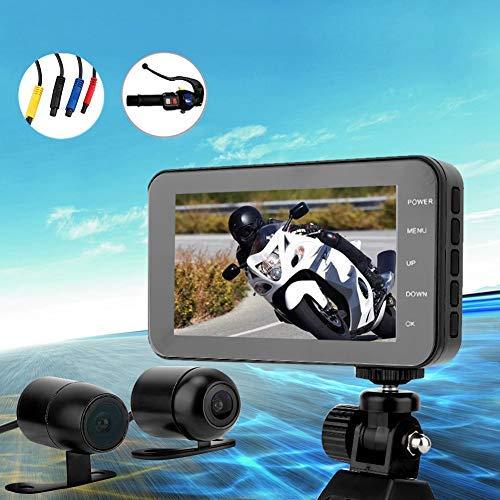 Naroote DVR-recorder voor motorfiets, DVR 1080P, waterdicht, wifi, voorcamera 4 inch (4 inch) en achteruitrijcamera, videorecorder, dashcam