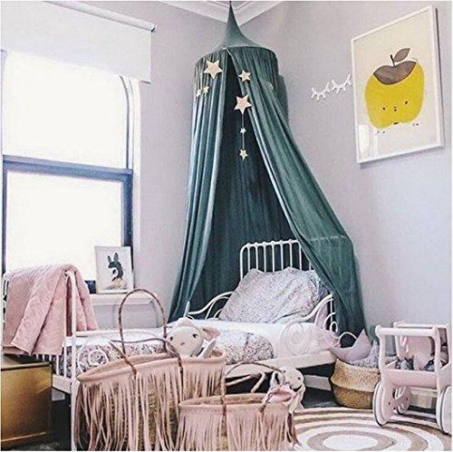 Restbuy Kinder Betthimmel Baldachin aus Baumwolle Mückenschutz Moskitonetz Insektenschutz Baby indoor Play Lesen Zelt Dekoration für Bett und Schlafzimmer (Dunkelgrün)