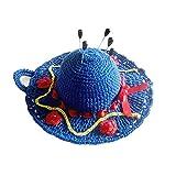 Alfiletero azul, amarillo y rojo en forma de sombrero de ganchillo - Tamaño: ø 13 cm - Handmade - ITALY