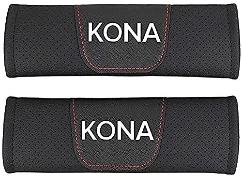 YYYYDS 2 Piezas Almohadillas CinturóN Seguridad para Kona,Fibra Carbono CinturóN Seguridad Almohadillas,Almohadilla Hombro del CinturóN Seguridad con Logo,Coche Accesorios