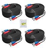 ANNKE 4 Pack 30M/100ft All-in-One Video Power Cables, BNC Extension Surveillance Camera Cables for CCTV Security DVR System Installation, Free BNC RCA Connector and 100pcs Cable Clips Included (Black)