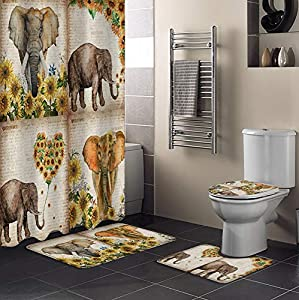 Shower Curtain Set with Bathroom Rugs and Mats Elephant Sunflower Bathroom Rugs Set 4 Piece,Non-Slip Rugs,Toilet Lid Cover and Bath Mat,Waterproof Shower Curtain for Tub