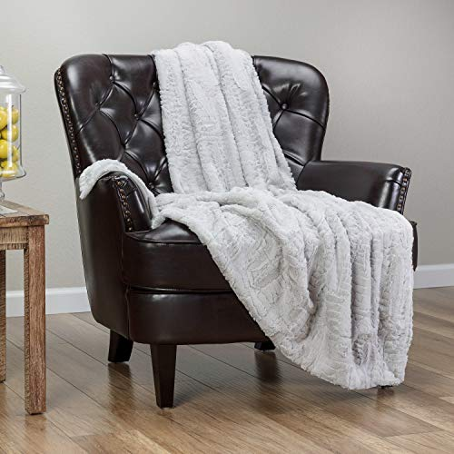 Chanasya Fuzzy Faux Feather Fur Throw Blanket - Reversible Soft Elegant Ruffle Front and Micro Mink Back Chick Blanket for Bed Couch Room (50x65 Inches) Silver